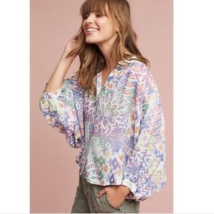 ANTHROPOLOGIE | Maeve Brynna Floral Tribal Top